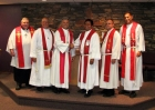 Pastor Chris Schroder installed at Holstein, IA.  L to R:  Rev. Dr. Dan Schroeder, Rev. Paul Johansen, Rev. Roger Twito, Rev. Chris Schroder, Rev. Joe Dapelo, Rev. Len Brokenshire