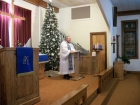 Chrismon tree &amp; Pastor at Lectern
