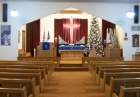 The sanctuary decorated for Christmas