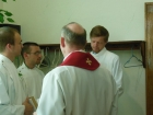 Dr. Leins coordinates processional with Keith Kettner, Paul Gaschler, & Matthias Wollberg